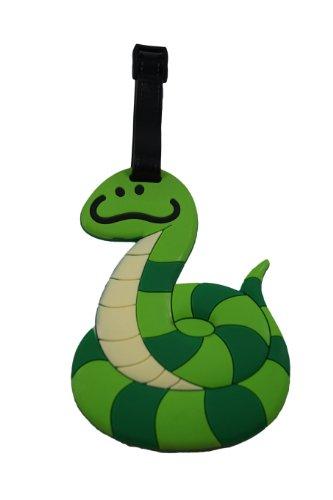 green-snake-design-rubber-luggage-school-bag-tag