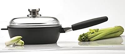 "Eurocast/Berghoff Professional Cookware 9.5"" Saute Pan with Glass Lid and Removable Handle"