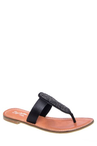 So Much Time Embellished Flat Thong Sandal