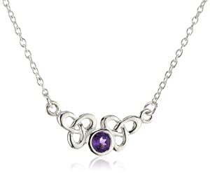 """Heritage Womens Sterling Silver and Amethyst Celtic Trilogen Necklace 9288AM , 17"""""""