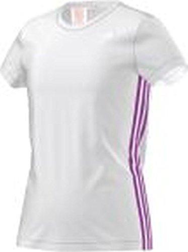 Adidas-Maglietta a maniche corte da ragazza, Bambina, T-Shirt Clima, White/Flash Pink S15/Silver Met., 116