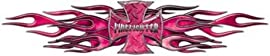 Flaming Maltese Cross Firefighter Decal - Pink - 4