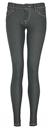Womens Zipper Pocket Jeggings Jeans (UK 10 (US 8), BLACK)