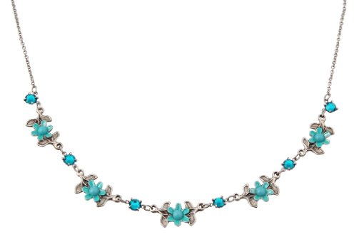 Dainty Turquoise Swarovski Crystals Necklace Created by Michal Negrin with Flower and Leaf Elements; Vintage Looking