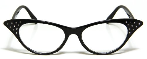 Clear Lens Cat Eye Glasses Super Retro Womens Fashion Black Frame