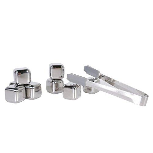 Andux Whisky Pierres Gift Set -8 réutilisables de qualité alimentaire en acier inoxydable Ice Cubes et 1 Tongs glace--BJS-01
