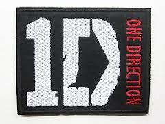 "One Direction Logo Black Iron-on Patch (3"" x 3.5"" / 7cm x 9cm) Embroidered 1D Badge by Sparta-Sports"