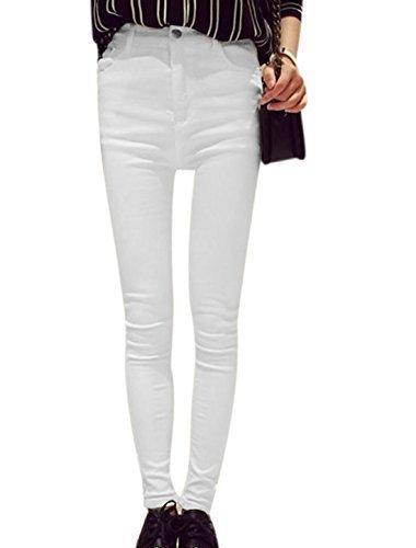 Donna Medio Alta Patta Con Zip Bottone Closed Pantaloni Jeans - cotone, Bianco, 100% cotone, Donna, S 36 EU