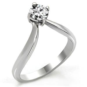 PROMISE RING - Stainless Steel Twist Style Round Cut CZ Ring