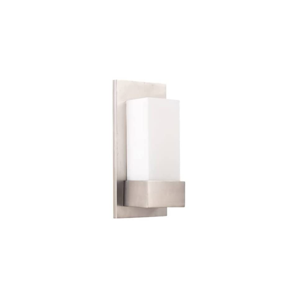 Quorum International 57865 1 Light Wall Mount in Satin Nickel with Satin Opal Glass 57865   Wall Sconces