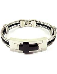 Streetsoul 3D Cross Silver Black Stainless Steel Bracelet For Men.