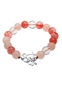 Amazon+Curated+Collection Sterling Silver Semi Precious Multi Beaded Bracelet with Heart and Key Toggle Closure
