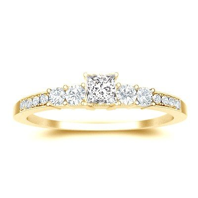 0.60 Carat Engagement Ring on Sale with Princess cut Diamond on 18K Yellow gold