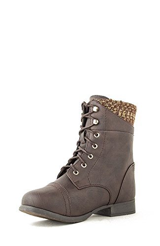 Top Moda Smart-30 Lace Up Sweater Combat Boot - Brown PU