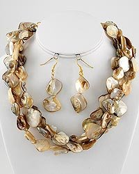 Gold Tone Natural Shell Multi Strand Necklace and Earring