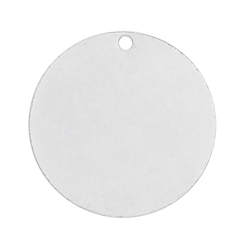 20 Silver Plated Copper Round Circle Stamping Blank Tags for Metal Stamping 25 mm Diameter