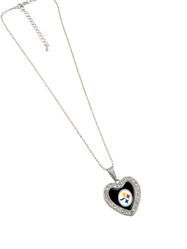 NFL Pittsburgh Steelers Reversible Crystal Heart Pendant with 16