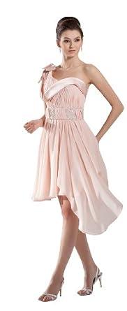 herafa p32166-2 Robes De Bal Style Romantique Col asymétrique Sans manche Ruché Perles Délicates Au genou A-Ligne Rose
