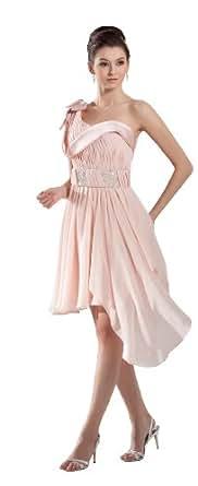 herafa p32166-8 Robes De Bal Style Romantique Col asymétrique Sans manche Ruché Perles Délicates Au genou A-Ligne Rose