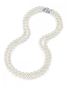 8-9mm Double Strand White Freshwater Cultured Pearl Necklace - AAAA Quality, 16 Inch Choker Length