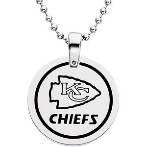 Stainless Steel and Black Laser Kansas City Chiefs Round Pendant Necklace 27