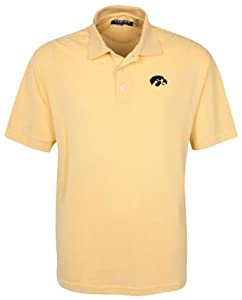 Oxford NCAA Iowa Hawkeyes Mens 3 Button Polo with Hemmed Sleeves by Oxford