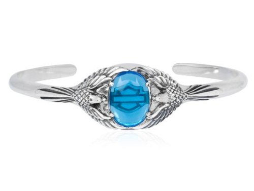 Harley-Davidson® MOD® Women's Sterling Silver Blue Eagle Cuff Bracelet. 7-Inches. HDB0282-7