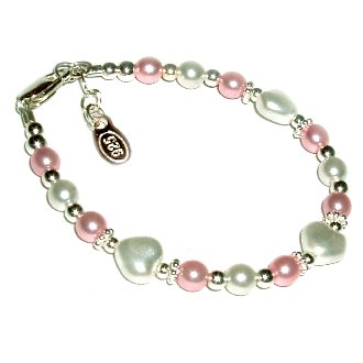 Sweetheart Sterling Silver Childrens Girls Infant Bracelet Jewelry This sweet sterling silver bracelet features pink and white Czech pearls accented with beautiful silver hearts -perfect for your little sweetheart! Size Small Baby 0-12 Months.
