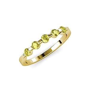Floating Yellow Diamond 5 Stone Wedding Band 0.50 ct tw in 14K Yellow Gold.size 7.0