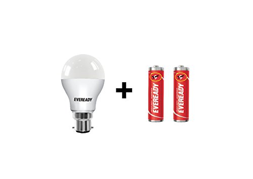 Eveready 7W B22 LED Bulb (Cool Day Light) With Free 2 Batteries