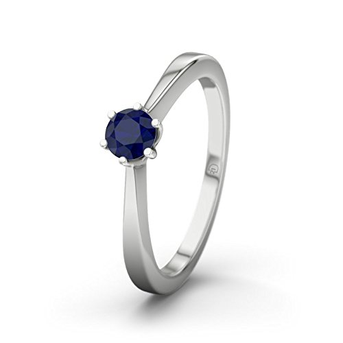 21DIAMONDS Women's Ring Bologna Blue Sapphire Diamond Engagement Ring - Silver Engagement Ring