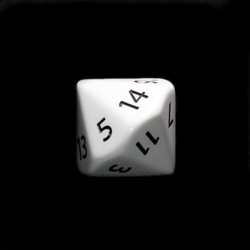 28mm Opaque White D14 w/ Black Numbers 1-14 Dice