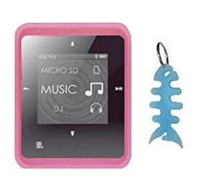 HappyZone - Silicone Skin Case (Pink) + Fishbone Style Keychain for Creative Zen Style M100 / M300 MP3 Player