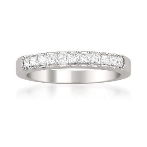 Price Comparisons 14k White Gold Princess-cut Diamond Wedding Band Ring (1/2 cttw, G-H, SI2)