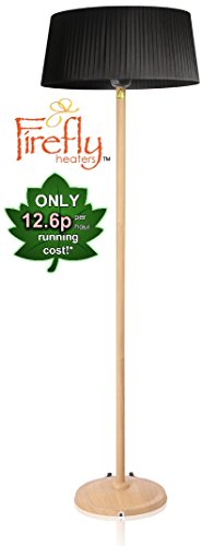 31Cy9djMY9L - BEST BUY #1 Firefly 2.1KW Freestanding Outdoor Patio Heater with Black Lampshade, Beech Wood Effect Stand and Base