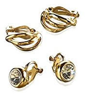 M&S Collection Gold Plated Duo Clips Diamanté Earrings