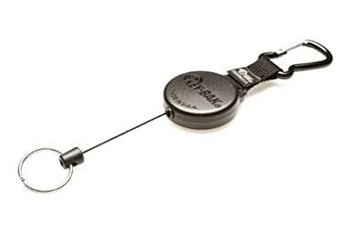 KEY-BAK #488B Retractable Reel with 48 inch (120 cm) Kevlar Cord, Durable Polycarbonate Case, Zinc Alloy Carabiner, Split Ring