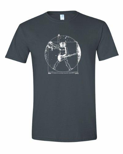 Men'S Davinci Man Rockin A Guitar T-Shirt-Charcoal-Large front-1060038
