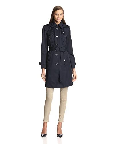 London Fog Women's Single-Breasted Trench with Grommets