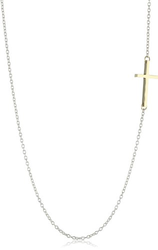 Mizuki Silver Chain Gold Side Cross Necklace