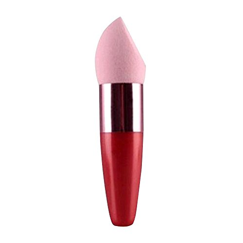[Happy Hours - Women's Beauty Tools Multi Shape Natural Puff / High Quality Makeup Flawless Foundation Liquid Cream Concealer Sponge Lollipop Brush(Pink Blush + Red] (Puff The Green Dragon Dress)