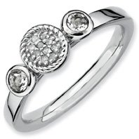 0.31ct Stackable Round White Topaz & Diamond Ring Band. Sizes 5-10 Available