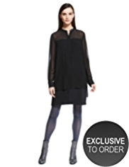 Autograph Sheer Panelled Shirt Dress