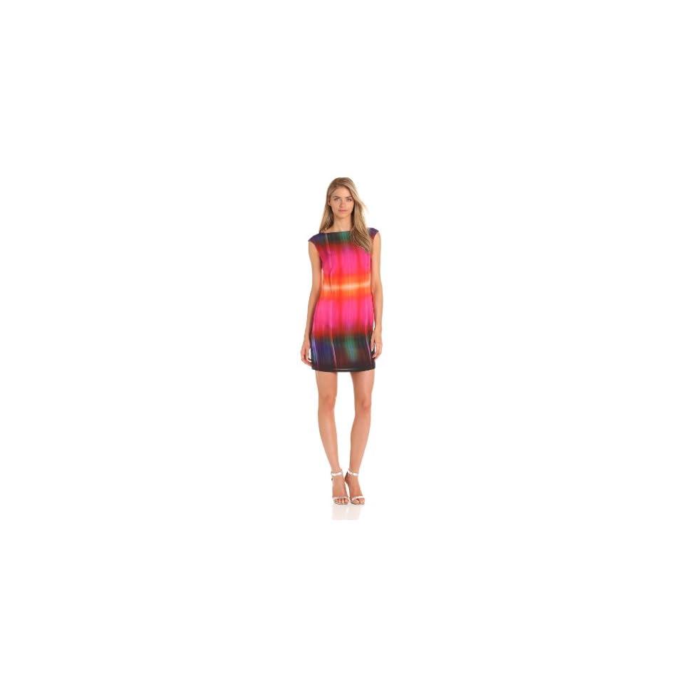 Donna Morgan Womens Cap Sleeve Printed Sheath Dress