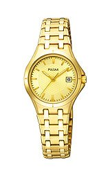 Pulsar Champagne Dial Gold Tone Bracelet Dress Sport Ladies Watch