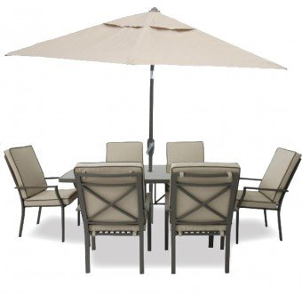 Patio Set Varvara 6 Seater Rectangular Dining Set with Parasol Aluminium Brown/Ecru