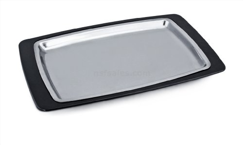 New Star Foodservice 26672 Rectangular Stainless Steel Sizzling Platter with Insulated Holder, 11 by 7.25-Inch, Black (Stainless Steel Sizzle Platters compare prices)