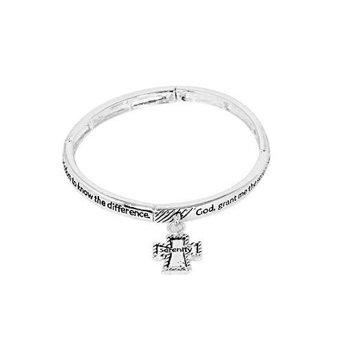 Antique Silver Tone Cross Charm Message Stretch Bracelet By GemGem Jewelry