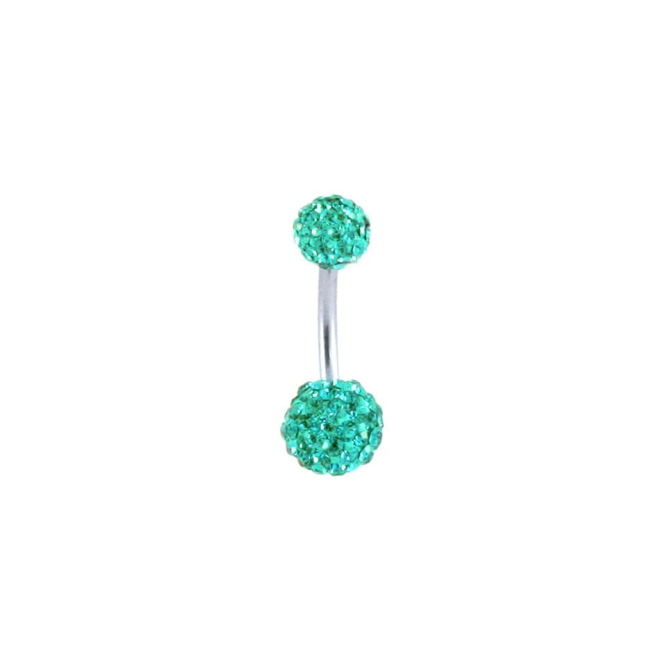 Stainless Steel Belly Ring with Teal Crystals