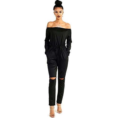 ALAIX Women's off-Shoulder Bodycon Knee Hole Pants Party Club Jumpsuits Rompers